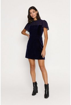 Navy Velvet Lace Dress