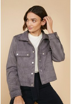 Grey Faux Suede Jacket