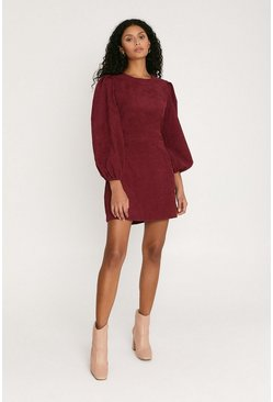 Burgundy Balloon Sleeve Cord Dress