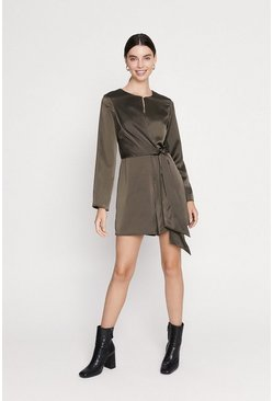 Khaki Satin Wrap Playsuit