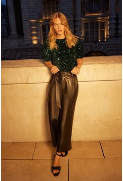 Black Faux Leather Culottes