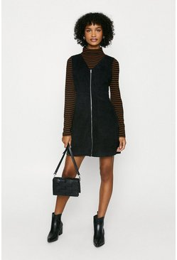 Black Cord Zip Through Dress