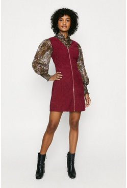 Burgundy Cord Zip Through Dress