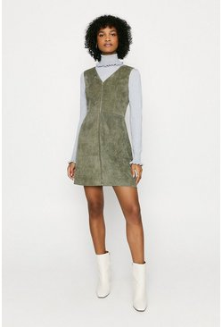 Green Cord Zip Through Dress