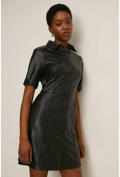 Black Faux Leather Button Through Shift Dress
