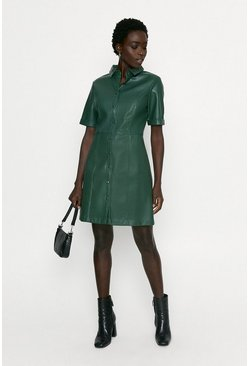 Green Faux Leather Button Through Shift Dress