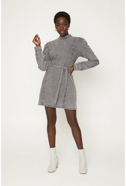 Grey Puff Sleeve Belted Dress