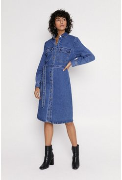 Mid wash Denim Button Through Dress