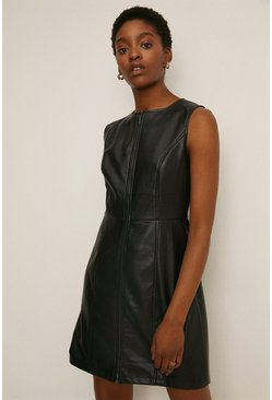 Black Faux Leather Zip Through Dress