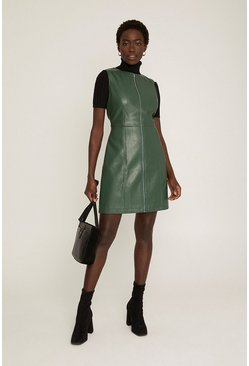 Green Faux Leather Zip Through Dress