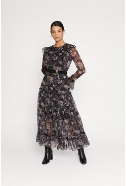 Multi Paisley Print Ruffle Midi Dress