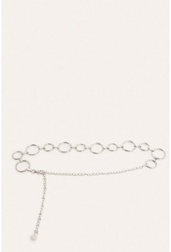 Circle Ring Silver Chain Belt