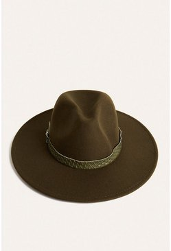 Green Croc Belted Fedora