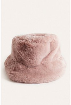 Pink Faux Fur Bucket Hat