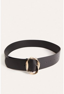 Black Twist Ring PU Belt