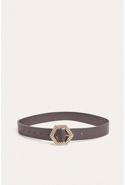 Black Hexagon Textured Buckle Belt