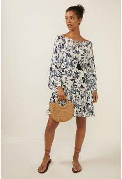 Blue  Floral Bardot Beach Dress
