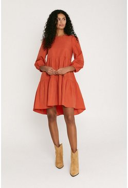 Rust Tiered Smock Dress