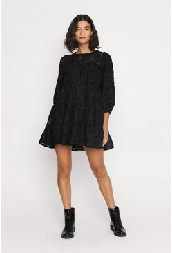 Black Fringe Textured Smock Dress