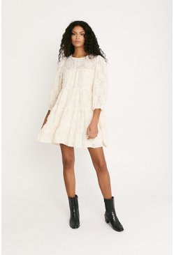 Cream Fringe Textured Smock Dress