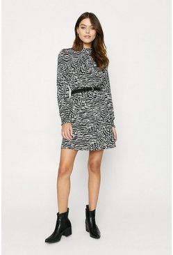 Mono Shirred Cuff Skater Dress