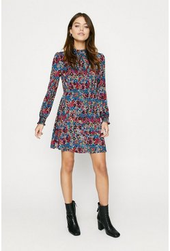 Snake Shirred Cuff Skater Dress