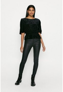 Black Velvet Shirred Blouse