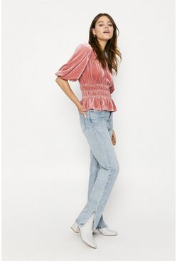Pink Velvet Shirred Blouse