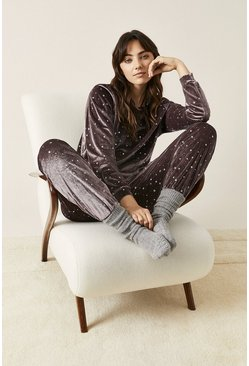 Mink Velvet Star Embellished Lounge Suit