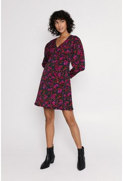 Multi Floral V Neck Dress