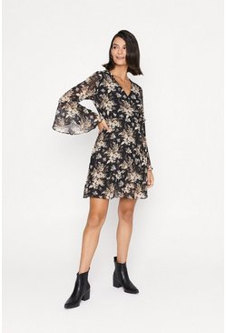 Multi Floral Wrap Flute Sleeve Skater Dress