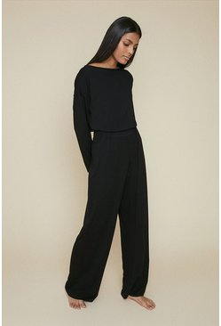 Black Loungewear Wide Leg