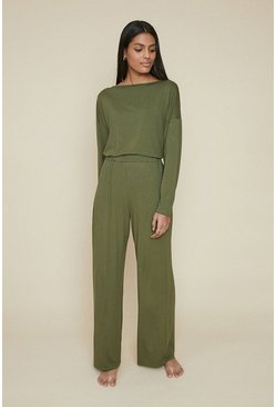 Khaki Loungewear Wide Leg