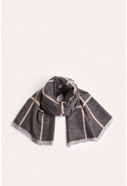 Camel Two Tone Check Scarf