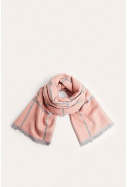 Pink Two Tone Check Scarf