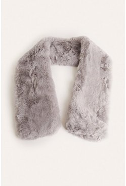Grey Faux Fur Scarf