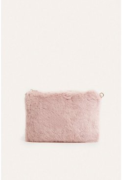 Blush Faux fur Cross Bag