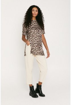 Animal Print Split Side T Shirt