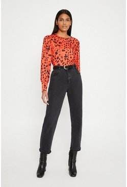Red Printed Puff Sleeve Top