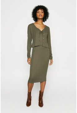 Khaki V Neck Rib 3 Piece Set