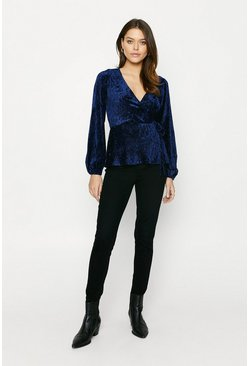 Navy Textured Velvet Wrap Top