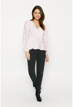 Pale pink Textured Velvet Wrap Top