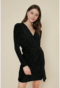 Black Textured Velvet Twist Front Dress