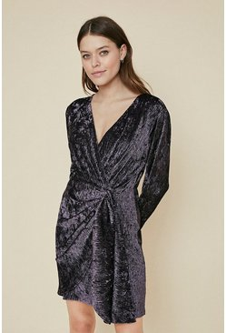 Purple Textured Velvet Twist Front Dress
