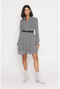 Mono Houndstooth Tiered Skater Dress