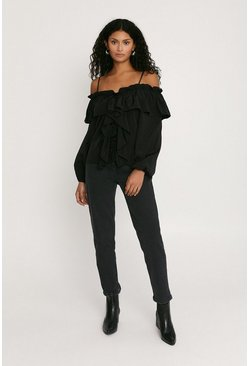 Black Cold Shoulder Frill Blouse