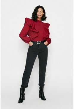 Red Cotton Frill Front Blouse
