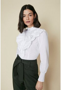 White Cotton Frill Front Shirt