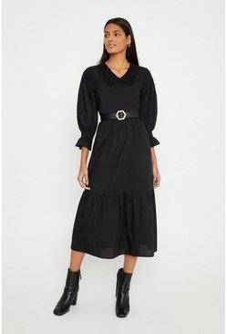Black Cotton Poplin Smock Dress