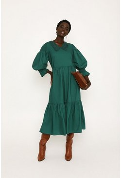 Green Cotton Poplin Smock Dress
